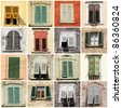 collage with antique windows with shutters in Italy, Europe - stock photo