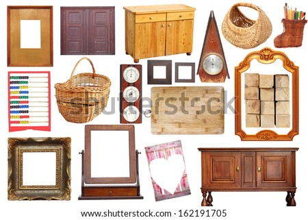 collage with antique wooden  objects isolated over white background - stock photo