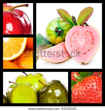 Collage with apples oranges guavas and strawberry