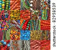 collage with beads collections - stock photo