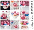 Collage with beautiful cupcake, selective focus - stock photo