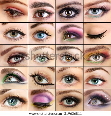 Collage with beautiful female eyes - stock photo