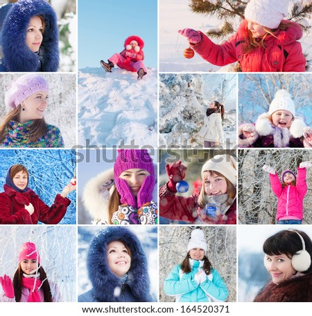 collage with beautiful girls in winter park - stock photo