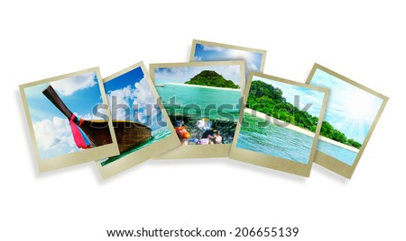 Collage  with beautiful holiday pictures of tropical beach - stock photo