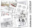 Collage with blueprints in different creation stages - stock