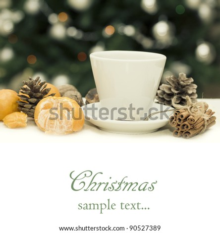 Collage with blurry light from Christmas tree ,cup of tea and mandarin - stock photo