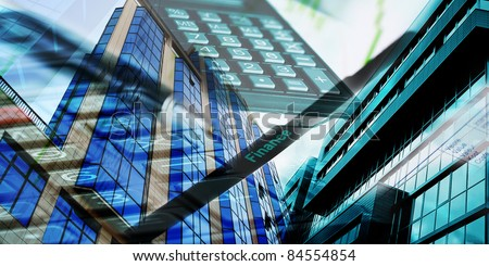 collage with buildings and marketing conceptual - stock photo