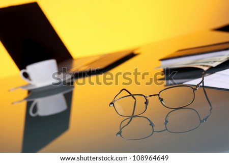 Collage with business papers on the work place - stock photo