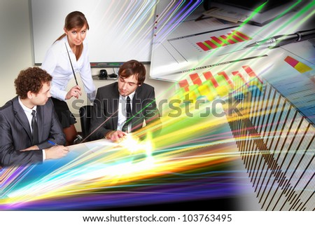 Collage with business people against IT communication background - stock photo