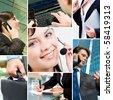Collage with business people, telecommunication and other objects - stock photo