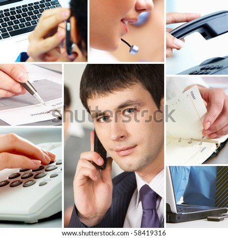 Collage with business people, telecommunication and other office objects - stock photo