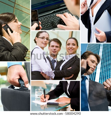 Collage with business team, calling people and other objects - stock photo