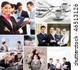 Collage with business teams and objects in different situations - stock photo