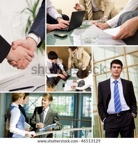Collage with business teams interacting during work - stock photo