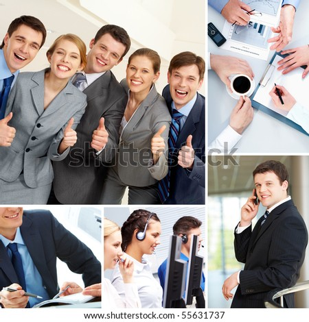 Collage with business teams, man and objects in different situations - stock photo