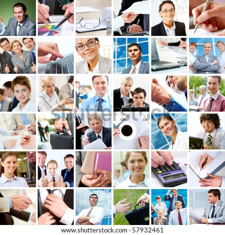 Collage with businesspeople and objects in different situations - stock photo