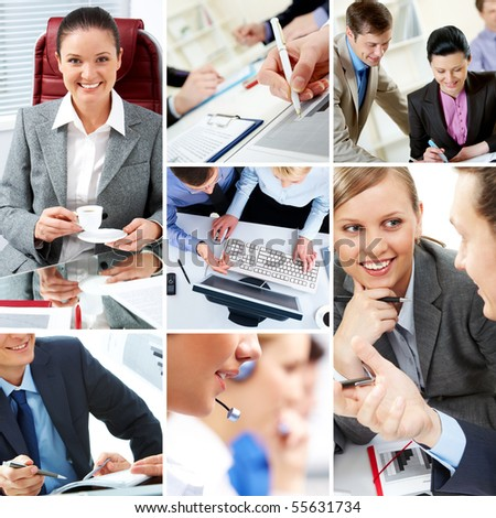 Collage with businesspeople and teamwork moments in different situations - stock photo