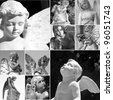 collage with cemetery angels, Italy, Europe - stock photo