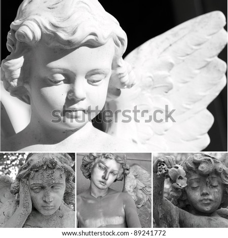collage with cemetery sculptures of angels - stock photo