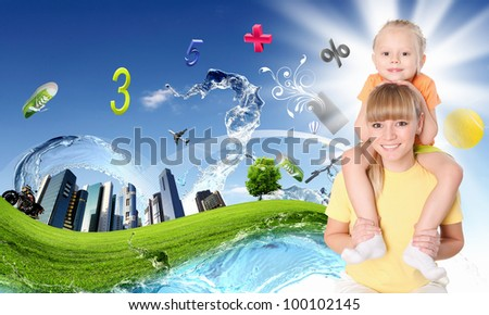 Collage with children and parents on green grass and under blue sky - stock photo