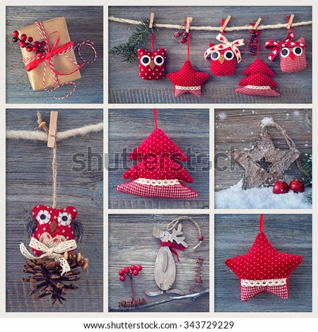 Collage with christmas decoration on a wooden background - stock photo
