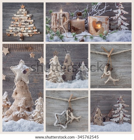 Collage with christmas decorations on a wooden background - stock photo