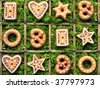 Collage with christmas ornaments of pottery - stock photo