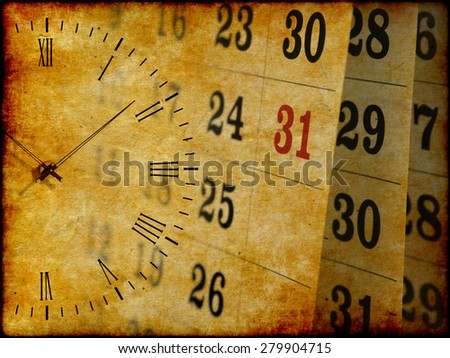 Collage with clock and calendar, time concept, vintage grunge paper background  - stock photo