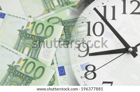 Collage with clock euro money, business concept
