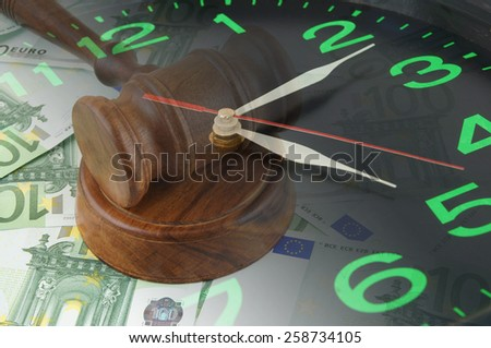 Collage with clock, judge gavel and banknotes, business time concept