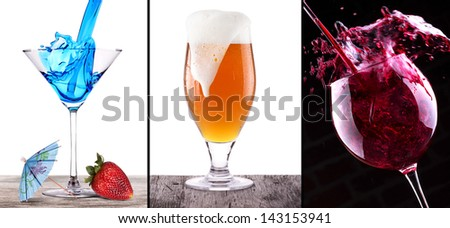 collage with cocktail, wine and beer on wooden table isolated - stock photo