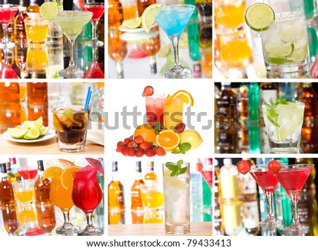 collage with cocktails - stock photo