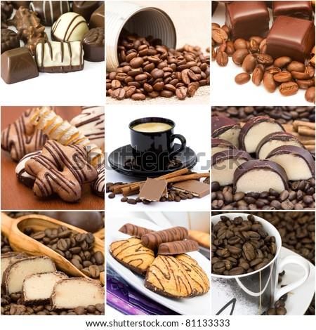 Collage with coffee, chocolate and cookies - stock photo