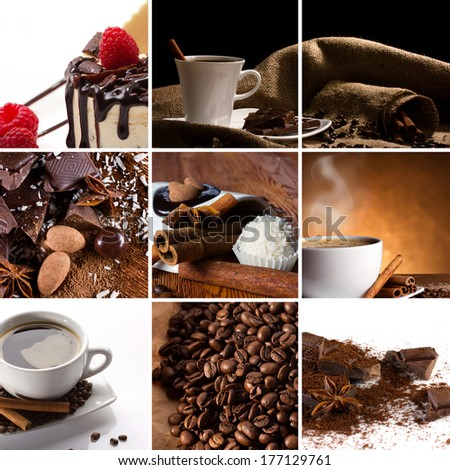 collage with coffee in cup, coffee beans, chocolate slice, candy, spices, cake with raspberry