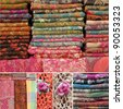 collage with colorful woolen scarfs on market - stock photo