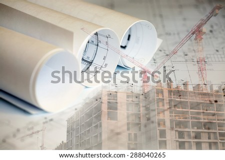Collage with construction plans, building and cranes - stock photo
