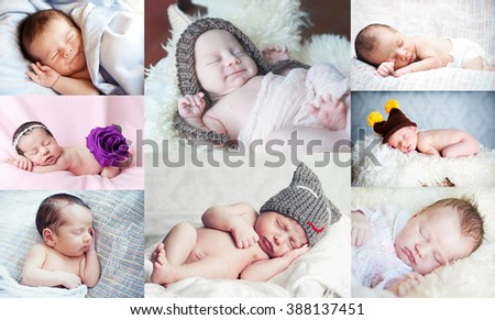 Collage with cute little newborn - stock photo