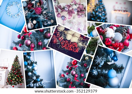 collage with decorated Christmas trees, decor and gifts