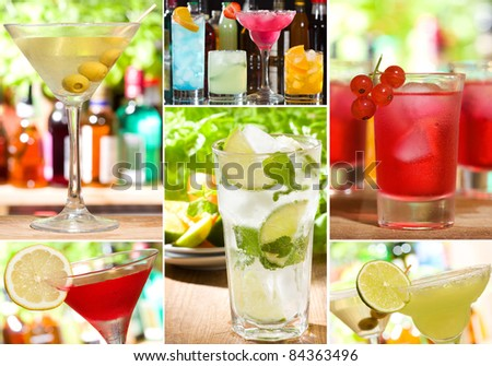collage with different alcohol cocktails