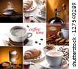 collage with different coffee and sweets - stock photo