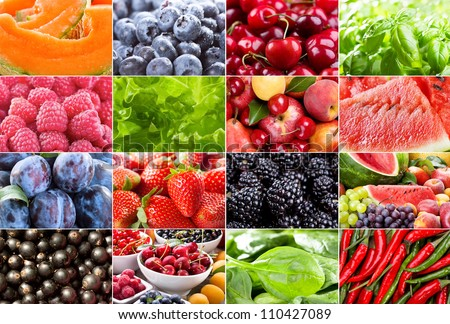 collage with different fruits, berries, herbs and vegetables - stock photo