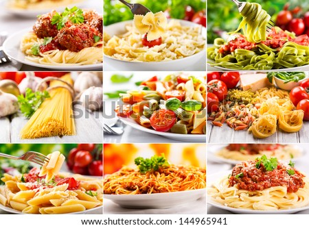 collage with different pasta - stock photo