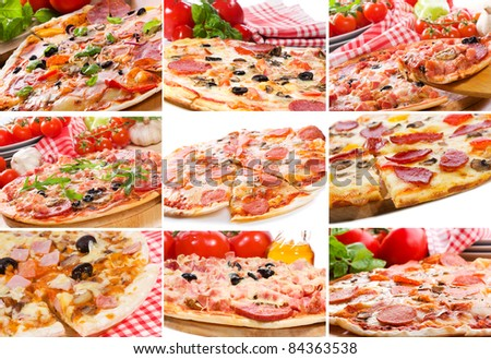 collage with different pizza - stock photo