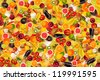 Collage with different types of fruit and vegetables as background, colorful - stock photo