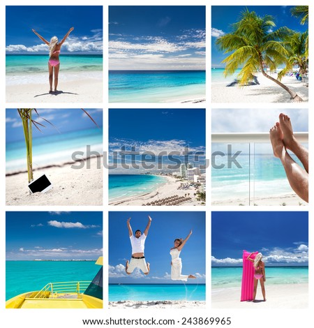 Collage with different views of Cancun, Mexico  - stock photo