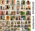 collage with doors from Italy - stock photo