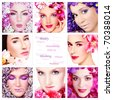 Collage with eight beautiful women with colorful flowers, copy space in center. Beauty, aromatherapy, make-up. - stock photo