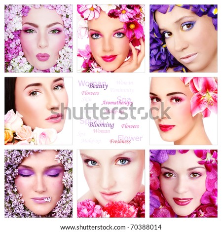 Collage with eight beautiful women with colorful flowers, copy space in center. Beauty, aromatherapy, make-up.