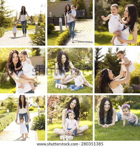 Collage with family photos. Young mother playing with her little child girl outdoors. Motherhood. Summer time.  - stock photo