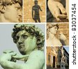 collage with famous renaissance sculpture of David by Michelangelo, Florence, Italy - stock photo